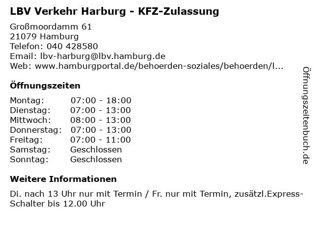 LBV Verkehr Harburg - KFZ-Zulassung in Hamburg: Adresse und Öffnungszeiten