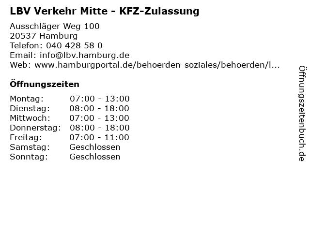 LBV Verkehr Mitte - KFZ-Zulassung in Hamburg: Adresse und Öffnungszeiten