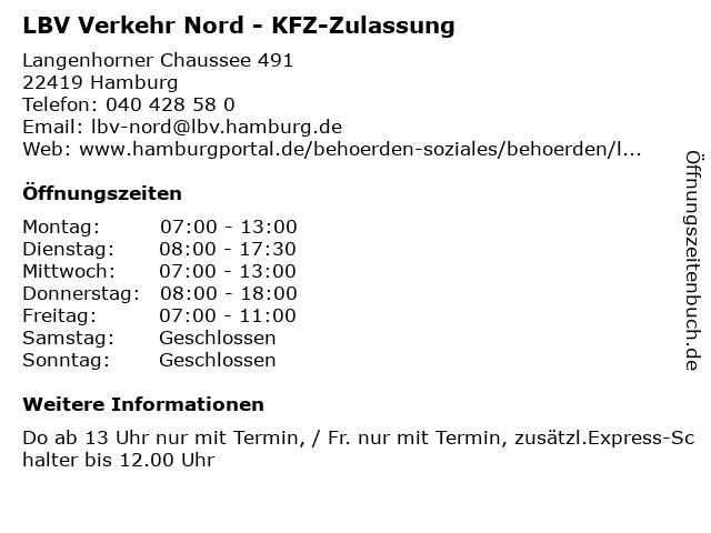 LBV Verkehr Nord - KFZ-Zulassung in Hamburg: Adresse und Öffnungszeiten