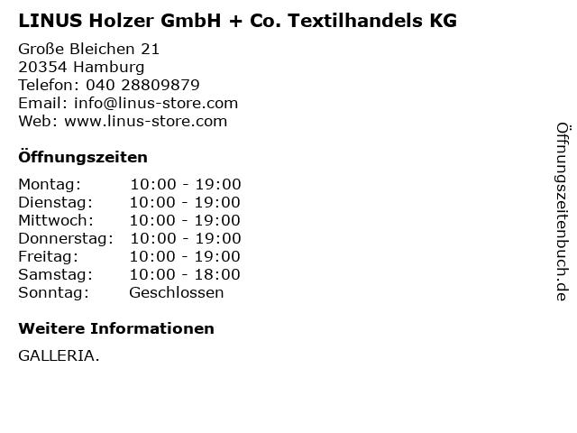 LINUS Holzer GmbH + Co. Textilhandels KG in Hamburg: Adresse und Öffnungszeiten