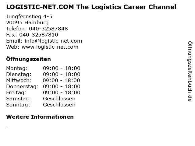 LOGISTIC-NET.COM The Logistics Career Channel in Hamburg: Adresse und Öffnungszeiten