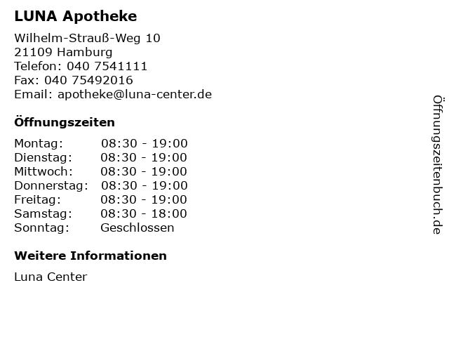 LUNA Apotheke in Hamburg: Adresse und Öffnungszeiten