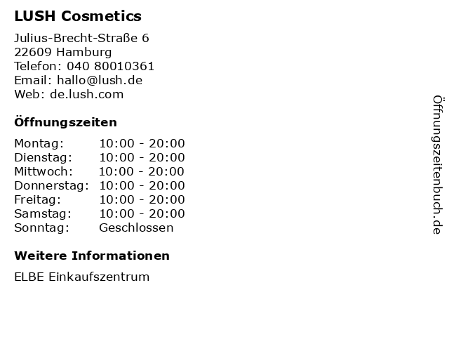 LUSH Cosmetics in Hamburg: Adresse und Öffnungszeiten