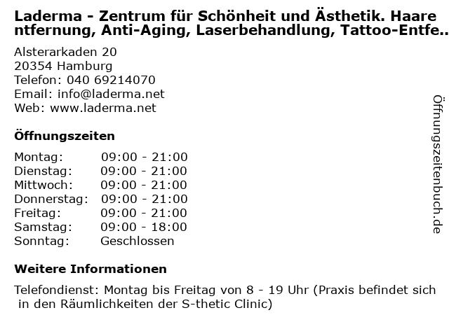 Laderma - Zentrum für Schönheit und Ästhetik. Haarentfernung, Anti-Aging, Laserbehandlung, Tattoo-Entfernung und Medcontour in Hamburg: Adresse und Öffnungszeiten
