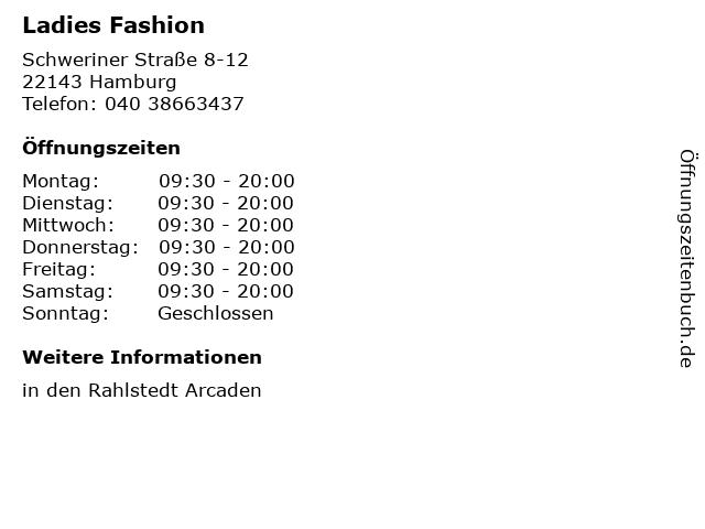 Ladies Fashion in Hamburg: Adresse und Öffnungszeiten