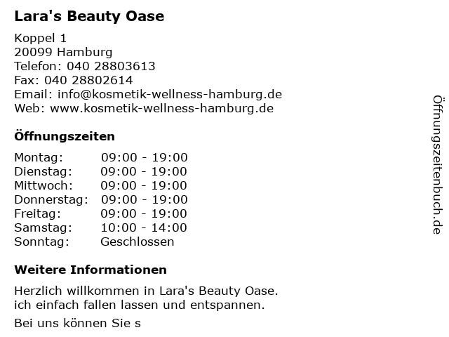 Lara's Beauty Oase in Hamburg: Adresse und Öffnungszeiten