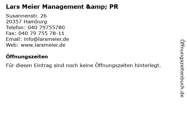 Lars Meier Management & PR in Hamburg: Adresse und Öffnungszeiten