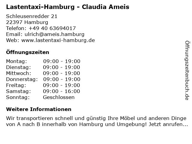 Lastentaxi-Hamburg - Claudia Ameis in Hamburg: Adresse und Öffnungszeiten