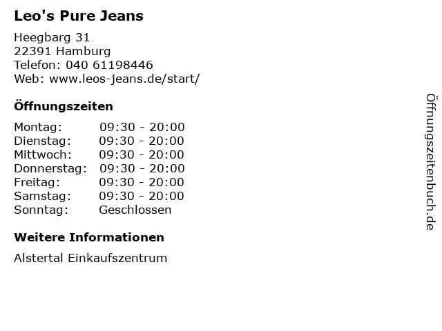 Leo's Pure Jeans in Hamburg: Adresse und Öffnungszeiten