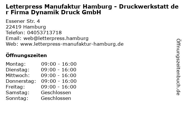 ᐅ öffnungszeiten Letterpress Manufaktur Hamburg