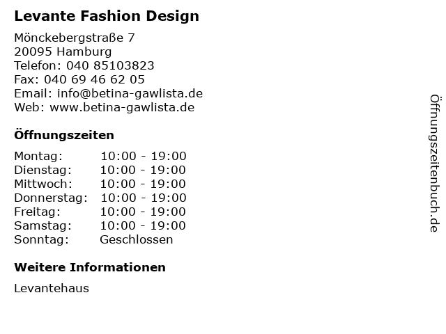 Levante Fashion Design in Hamburg: Adresse und Öffnungszeiten