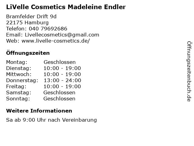 LiVelle Cosmetics Madeleine Endler in Hamburg: Adresse und Öffnungszeiten