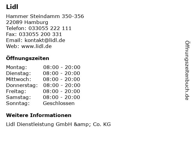 Lidl in Hamburg: Adresse und Öffnungszeiten