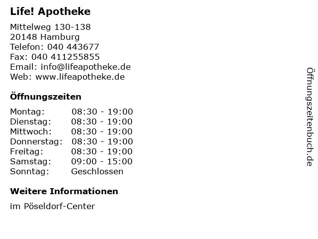 Life! Apotheke in Hamburg: Adresse und Öffnungszeiten