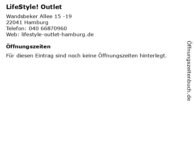 LifeStyle! Outlet in Hamburg: Adresse und Öffnungszeiten