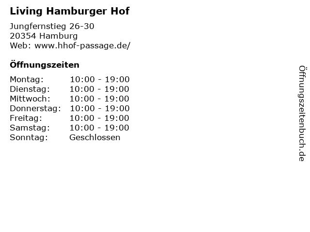 Living Hamburger Hof in Hamburg: Adresse und Öffnungszeiten