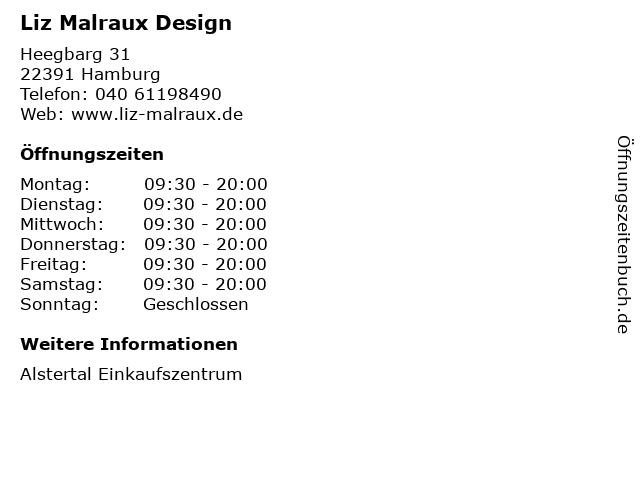 Liz Malraux Design in Hamburg: Adresse und Öffnungszeiten
