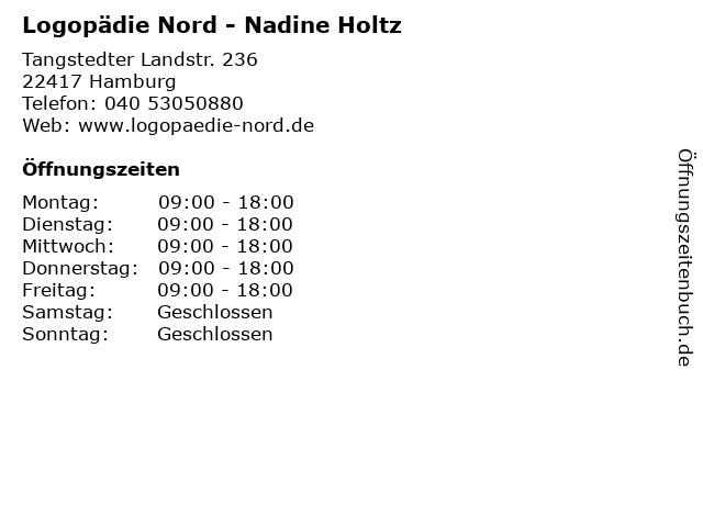 Logopädie Nord - Nadine Holtz in Hamburg: Adresse und Öffnungszeiten