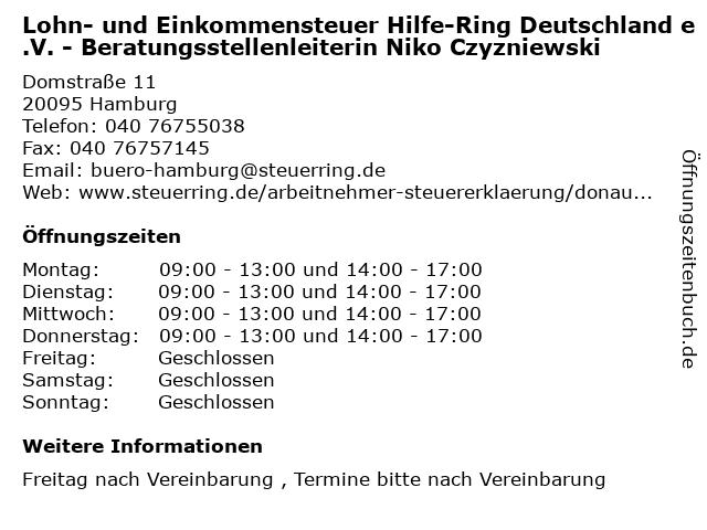 Lohn- und Einkommensteuer Hilfe-Ring Deutschland e.V. - Beratungsstellenleiterin Niko Czyzniewski in Hamburg: Adresse und Öffnungszeiten