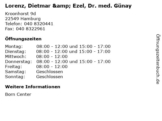 Lorenz, Dietmar & Ezel, Dr. med. Günay in Hamburg: Adresse und Öffnungszeiten