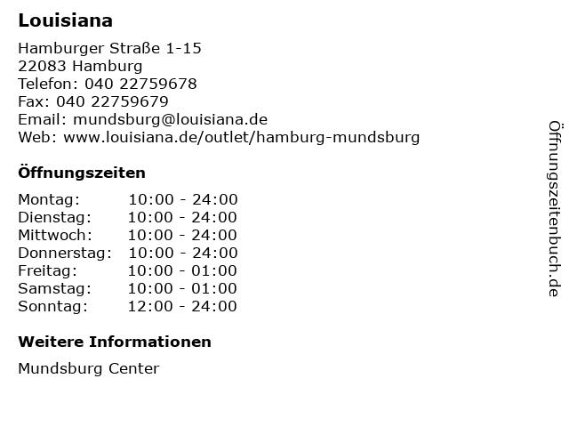 Louisiana in Hamburg: Adresse und Öffnungszeiten