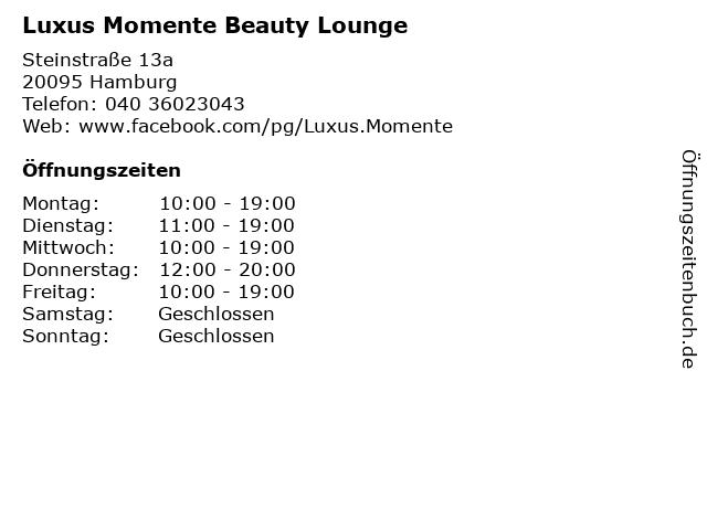 Luxus Momente Beauty Lounge in Hamburg: Adresse und Öffnungszeiten