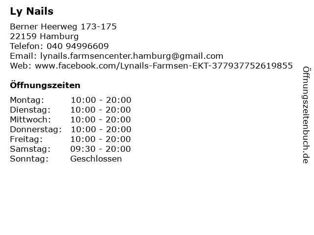 Ly Nails in Hamburg: Adresse und Öffnungszeiten