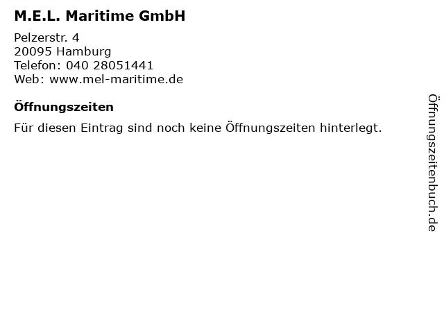 M.E.L. Maritime GmbH in Hamburg: Adresse und Öffnungszeiten