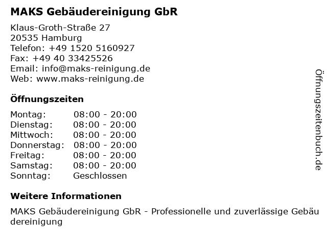 MAKS Gebäudereinigung GbR in Hamburg: Adresse und Öffnungszeiten