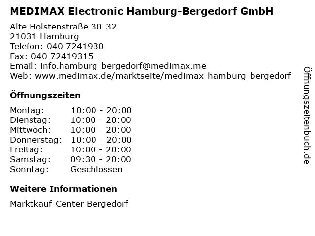 MEDIMAX Electronic Hamburg-Bergedorf GmbH in Hamburg: Adresse und Öffnungszeiten