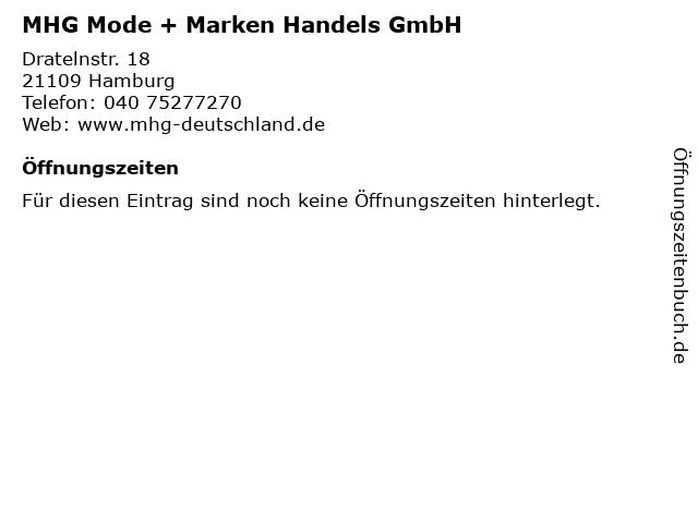 MHG Mode + Marken Handels GmbH in Hamburg: Adresse und Öffnungszeiten