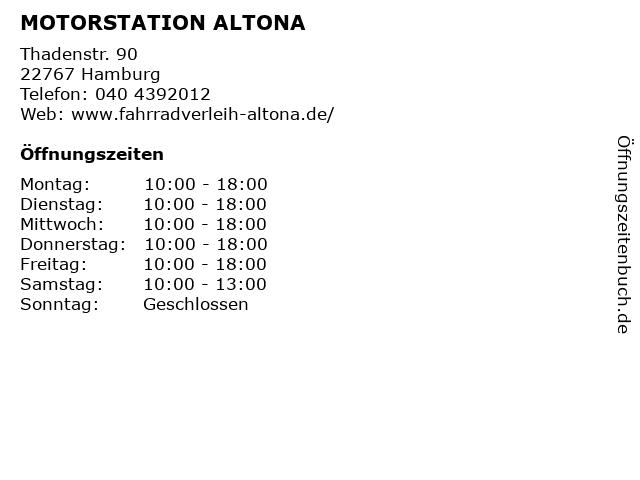 MOTORSTATION ALTONA in Hamburg: Adresse und Öffnungszeiten