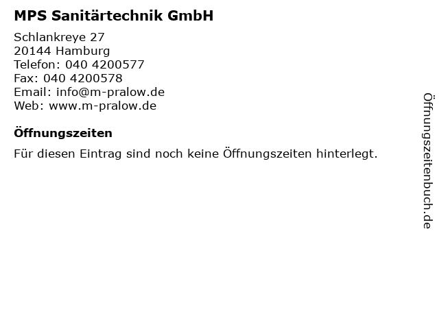 MPS Sanitärtechnik GmbH in Hamburg: Adresse und Öffnungszeiten