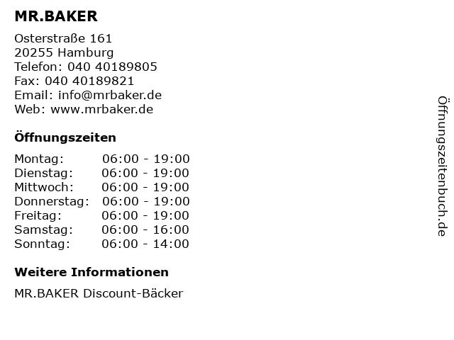 MR.BAKER in Hamburg: Adresse und Öffnungszeiten