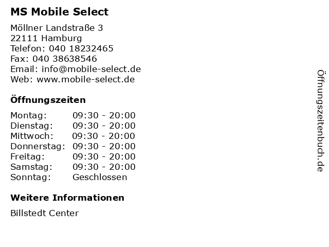MS Mobile Select in Hamburg: Adresse und Öffnungszeiten
