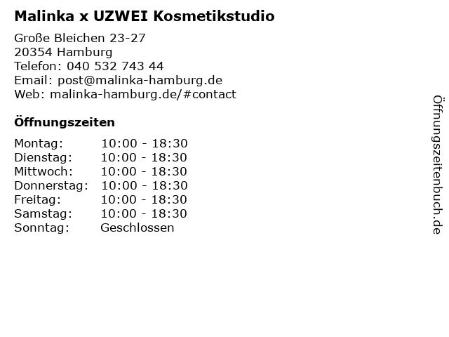 Malinka x UZWEI Kosmetikstudio in Hamburg: Adresse und Öffnungszeiten