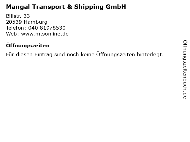Mangal Transport & Shipping GmbH in Hamburg: Adresse und Öffnungszeiten