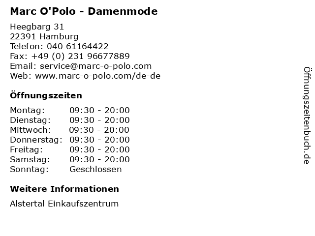 Marc O'Polo in Hamburg: Adresse und Öffnungszeiten