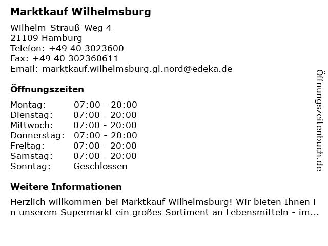 Marktkauf Wilhelmsburg in Hamburg: Adresse und Öffnungszeiten