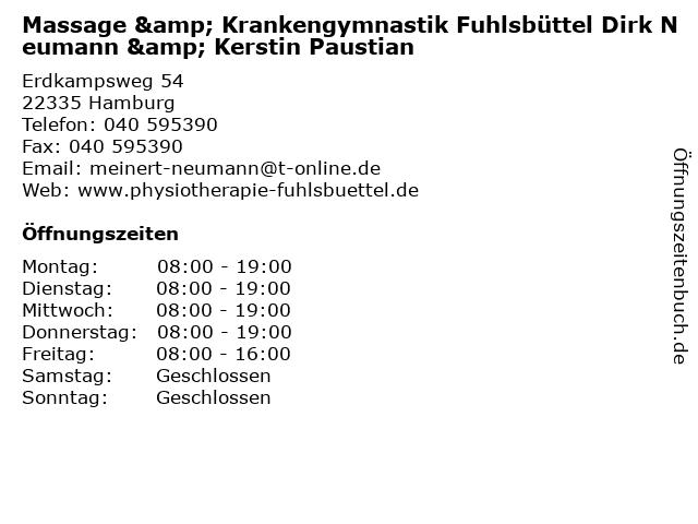 Massage & Krankengymnastik Fuhlsbüttel Dirk Neumann & Kerstin Paustian in Hamburg: Adresse und Öffnungszeiten