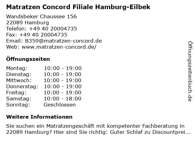Matratzen Concord GmbH in Hamburg: Adresse und Öffnungszeiten