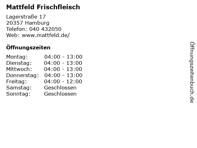 Mattfeld Frischfleisch in Hamburg: Adresse und Öffnungszeiten