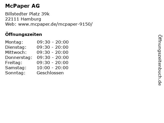 McPaper AG - Deutsche Post Verkaufspunkt in Hamburg: Adresse und Öffnungszeiten