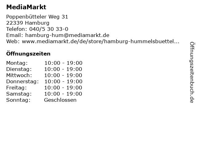 Media Markt Hamburg-Hummelsbüttel in Hamburg: Adresse und Öffnungszeiten