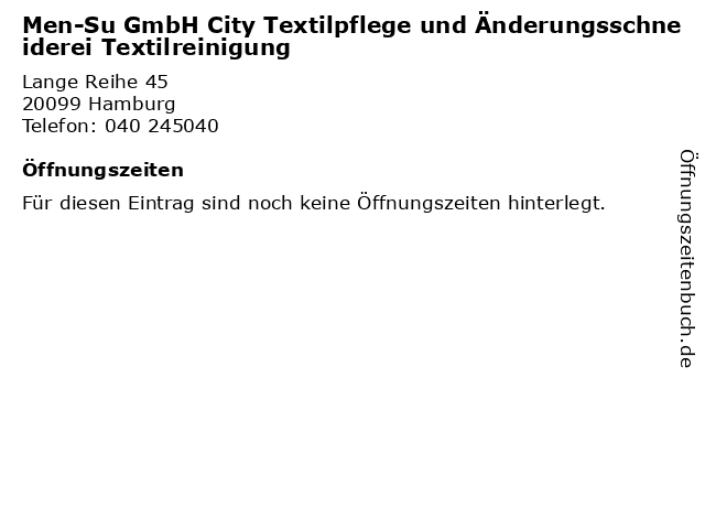 Men-Su GmbH City Textilpflege und Änderungsschneiderei Textilreinigung in Hamburg: Adresse und Öffnungszeiten