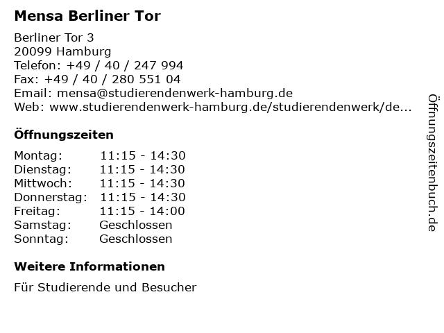 Mensa Berliner Tor in Hamburg: Adresse und Öffnungszeiten