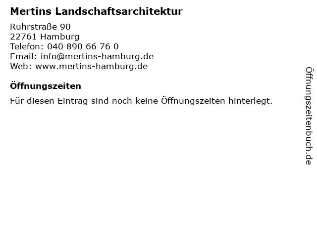 Mertins Landschaftsarchitektur in Hamburg: Adresse und Öffnungszeiten