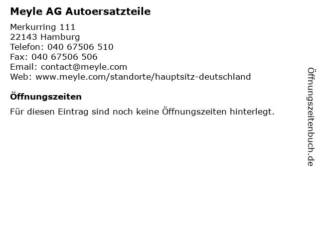 Meyle AG Autoersatzteile in Hamburg: Adresse und Öffnungszeiten