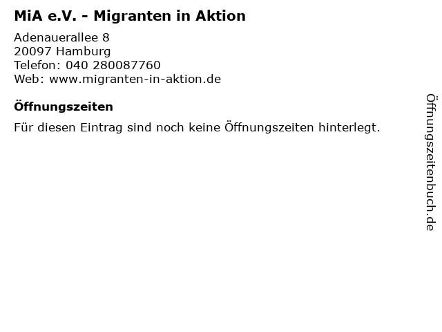 MiA e.V. - Migranten in Aktion in Hamburg: Adresse und Öffnungszeiten