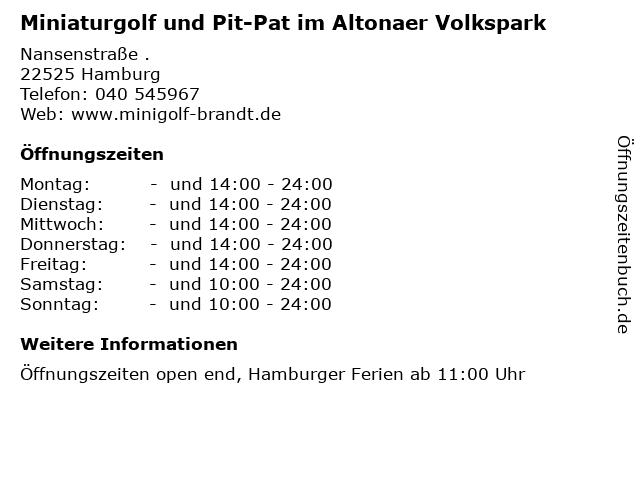 Miniaturgolf und Pit-Pat im Altonaer Volkspark in Hamburg: Adresse und Öffnungszeiten